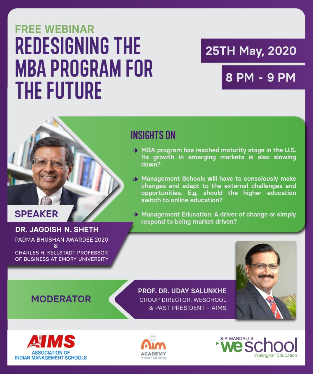 16th AIMS Webinar on 'Redesigning the MBA program for the future' by Padma Bhushan Dr. Jagdish N. Sheth