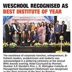 WeSchool recognised as best Institute of the year