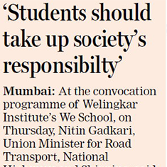 'Students should take up society's responsibility'