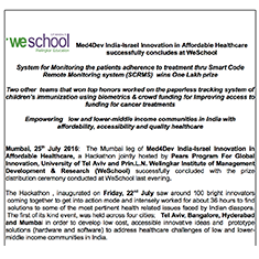 Med4Dev India-Israel Innovation in Affordable Healthcare successfully concludes at WeSchool